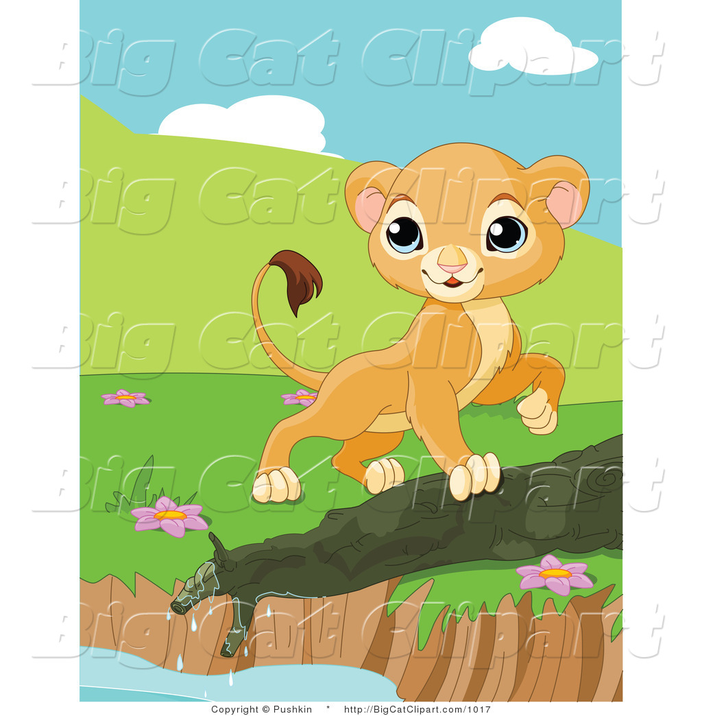 Big Cat Clipart of a Curious Lion Cub Walking by a Pond Edge by.
