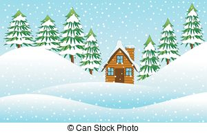 Clipart Vector of Houses on forest edge.