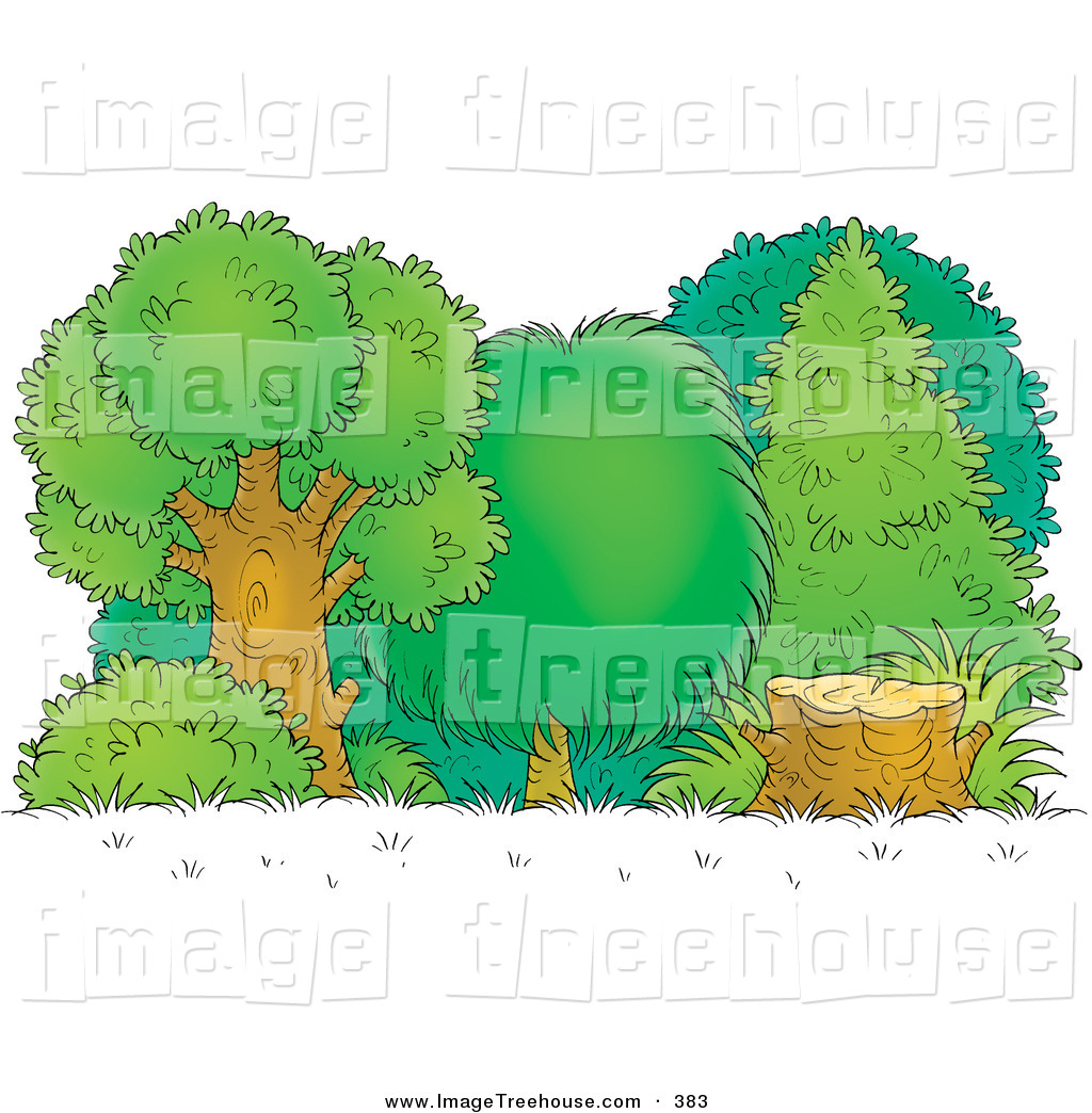 Clipart of a Tree Stump at the Edge of a Lush Green Forest by Alex.