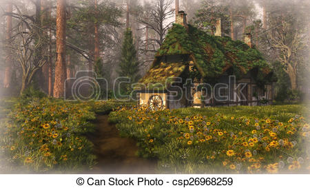 Stock Illustrations of Hut on the Edge of the Forest, 3d cg.