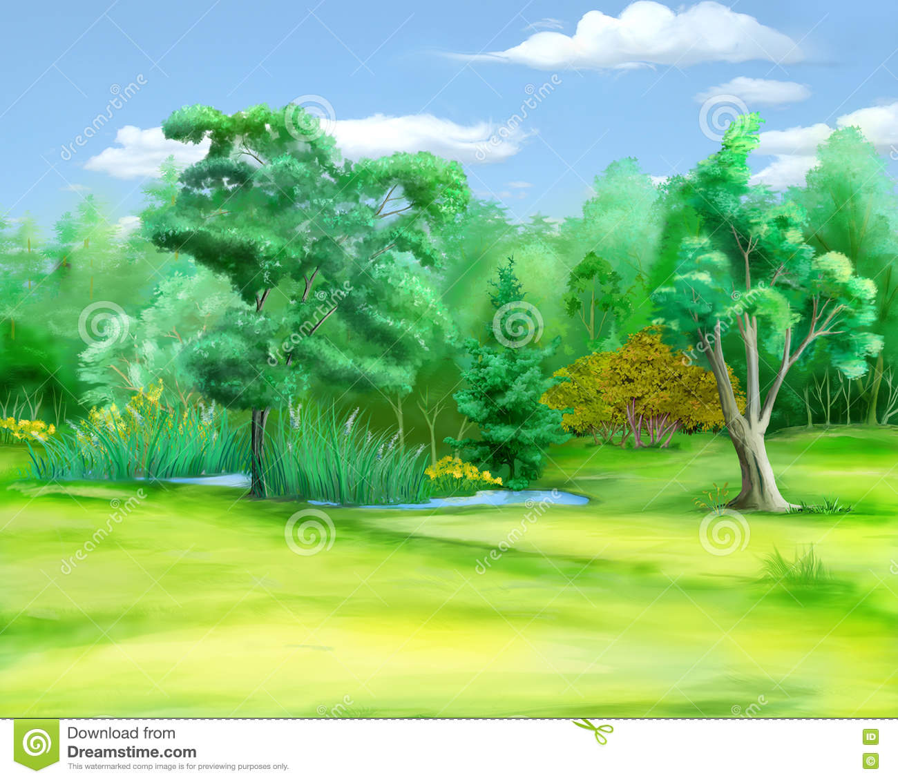 Edge Green Forest Dead Trees Stock Illustrations.