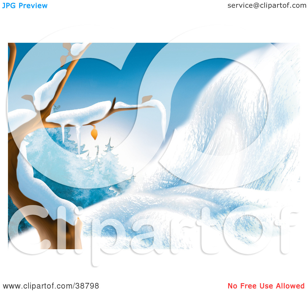 Clipart Illustration of a Bare Tree Flocked In Snow Beside A Snow.
