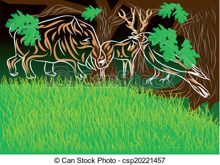 Clipart Vector of edge of the woods.