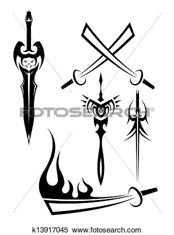 Clipart of edged weapon tattoos black and whit k13917045.
