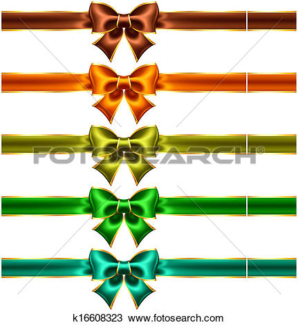Clipart of Holiday bows with gold edging and ribbons k16608323.