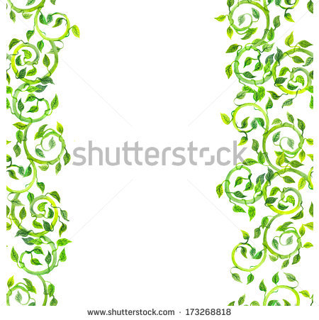 Seamless Strip Edging Of Green Lines With Scrolls And Leaves Stock.