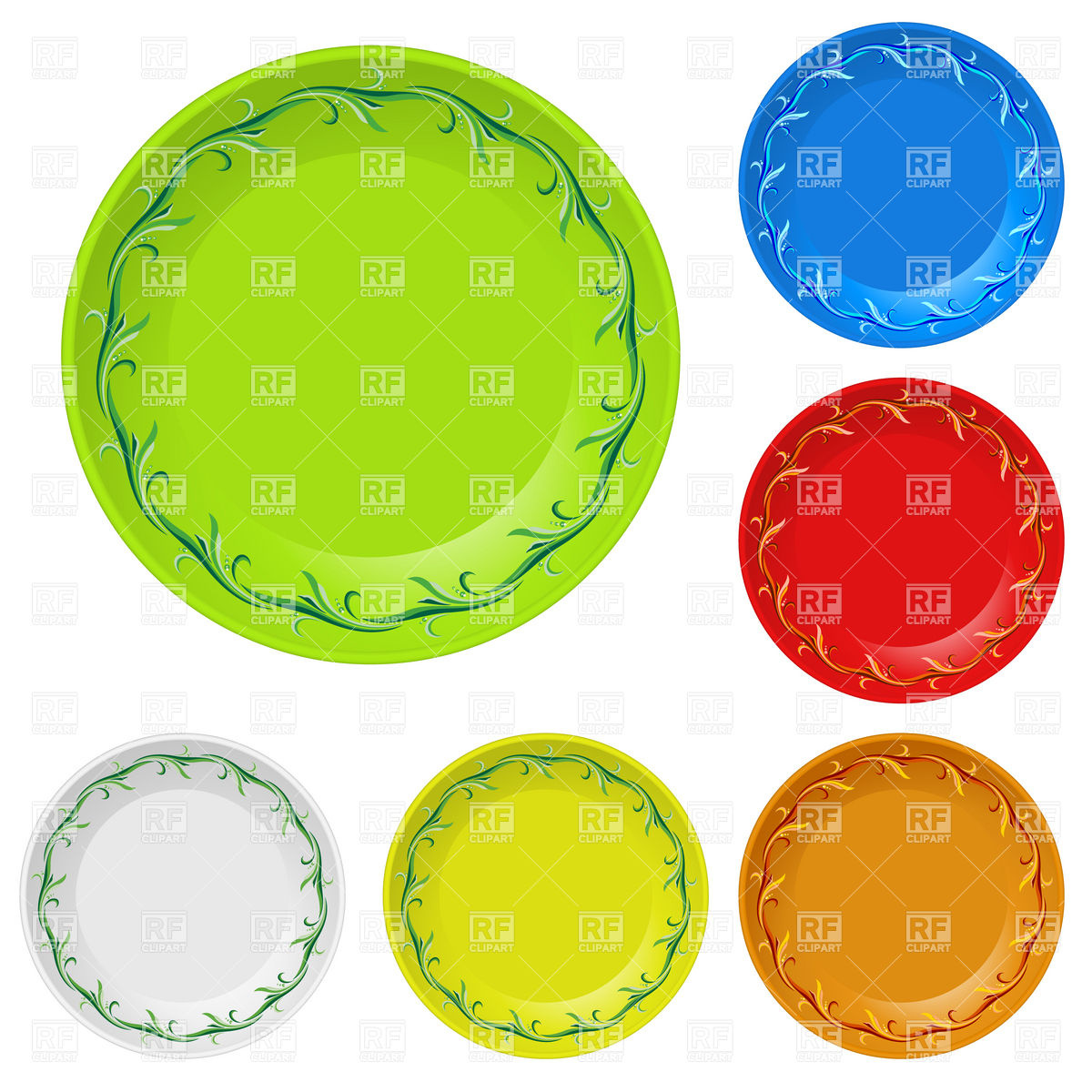 Disposable plates with decorative edging Vector Image #7495.