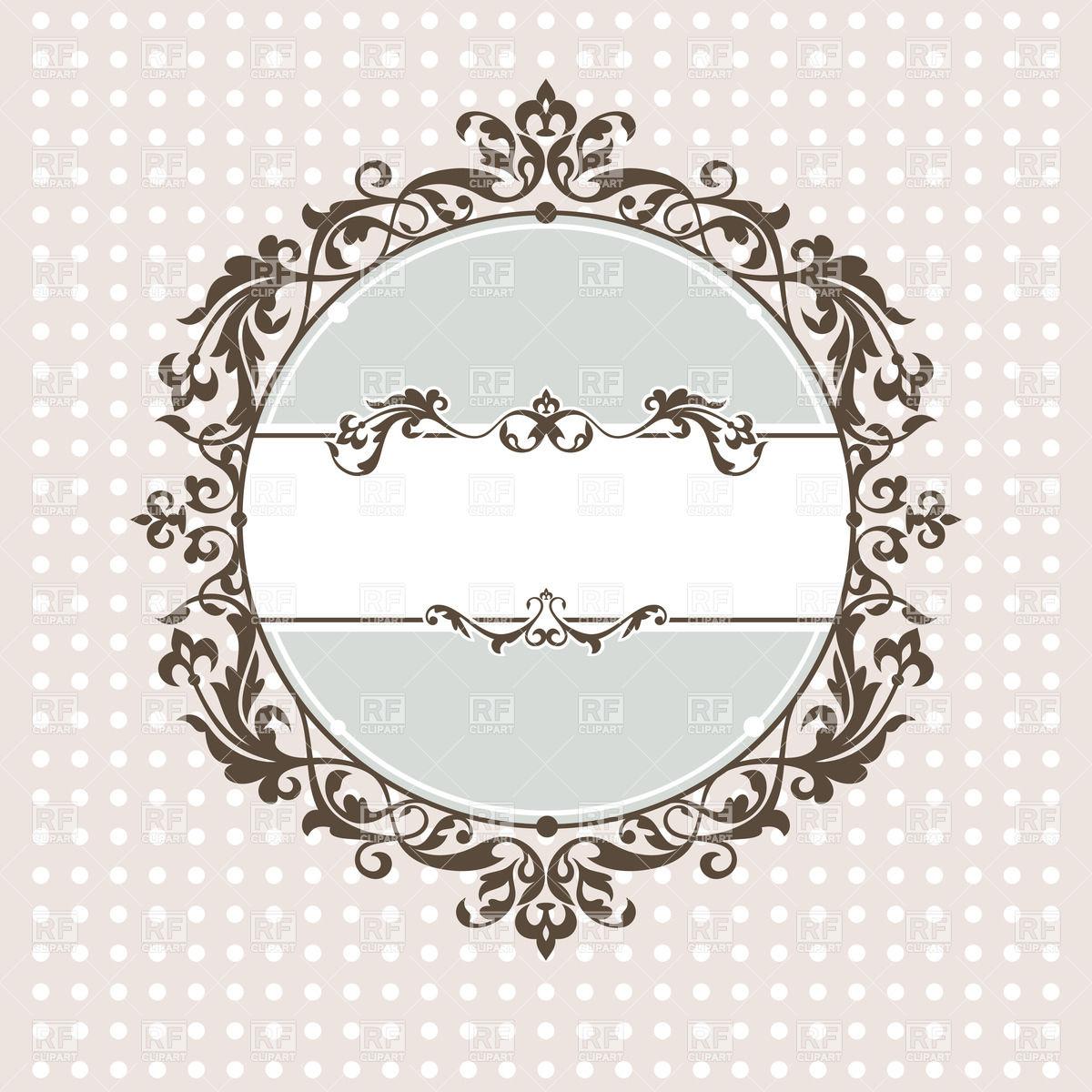 Vintage frame with lace edging onpolka dot background Vector Image.
