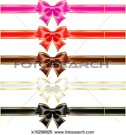 Clip Art of Bows with edging and ribbons in warm colors k16298926.