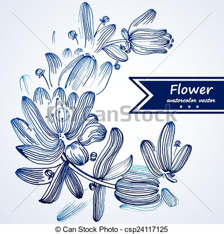 Vector Illustration of Blue watercolor flowers edging..