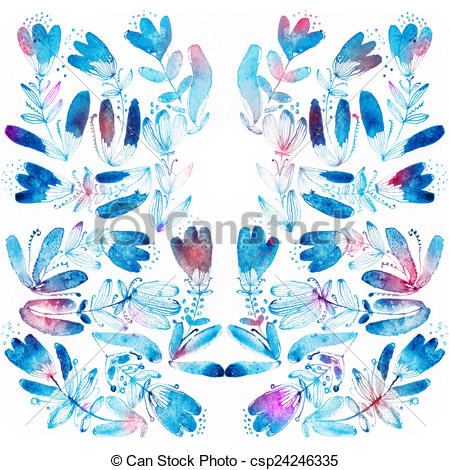 Drawings of Blue watercolor flowers edging..