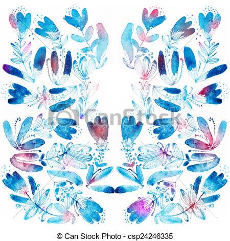 Drawings of Blue watercolor flowers edging..