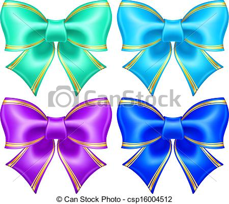 Vector Clip Art of Silk bows in cool colors with golden edging.