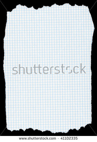 Piece Of Torn Squared Paper Isolated On Deep Black Background.