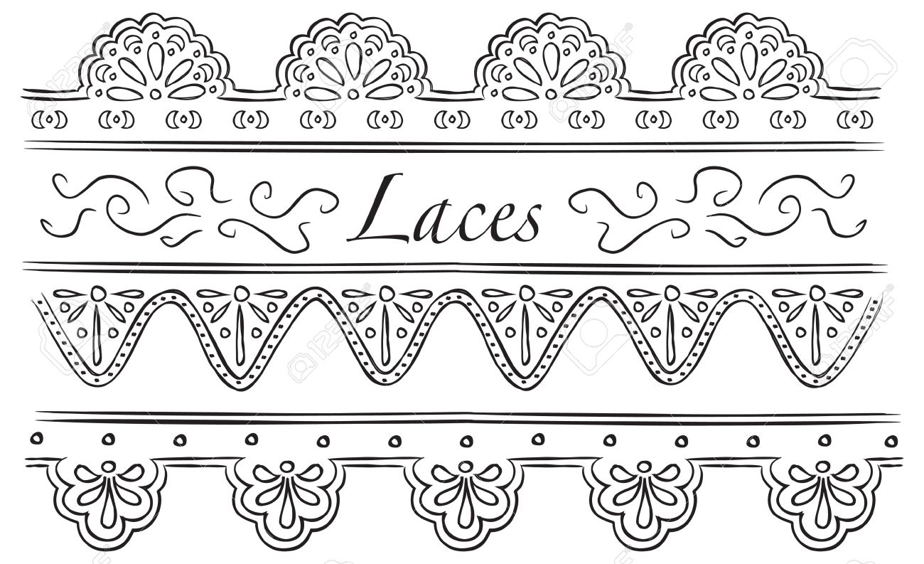 Set Of Laces Doodle Royalty Free Cliparts, Vectors, And Stock.