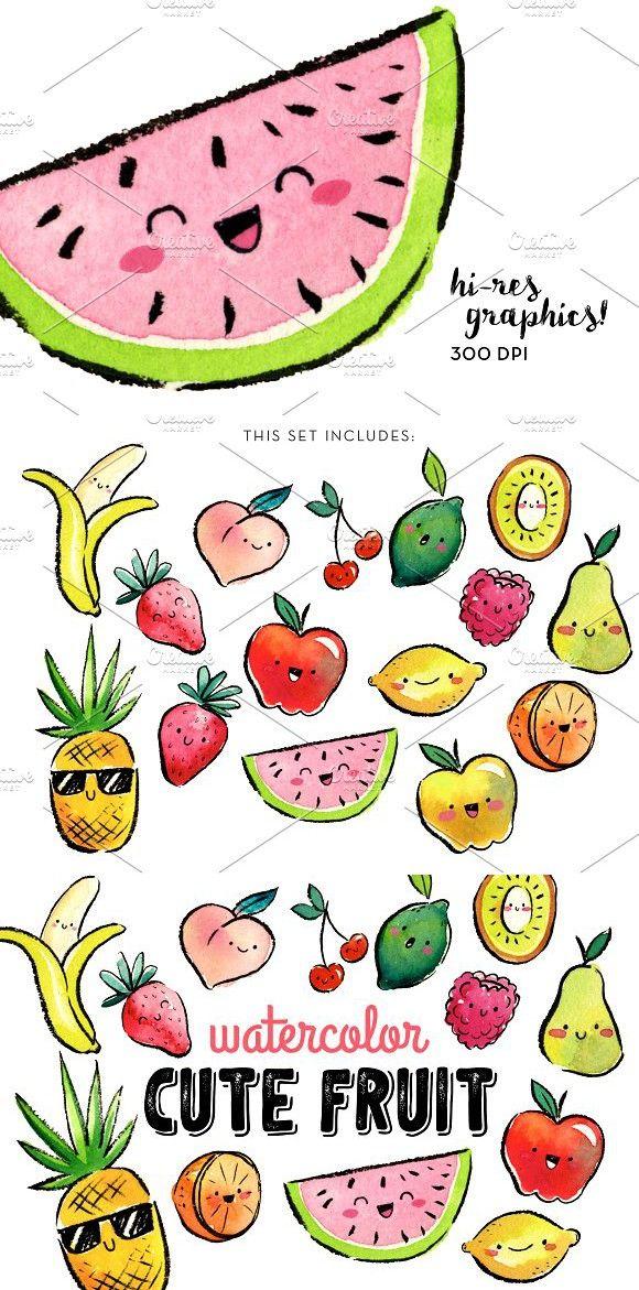 Watercolor Cute Fruit Clipart.