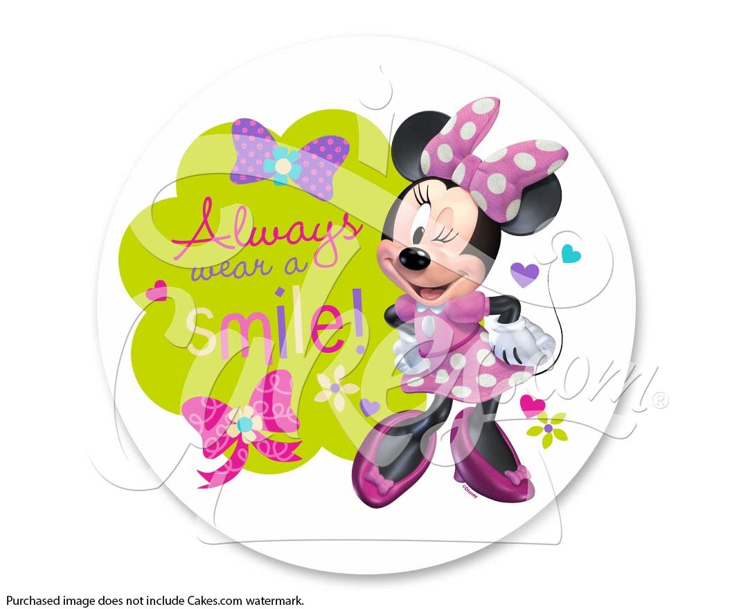 Minnie Always Wear a Smile PhotoCake® Edible Cake Image, 7.5.