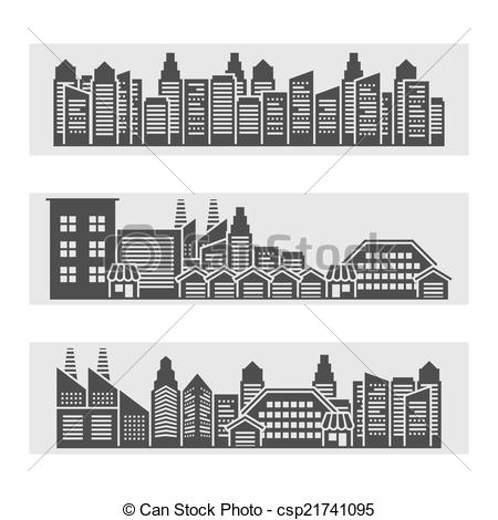 EPS Vectors of Cityscape icons banner.