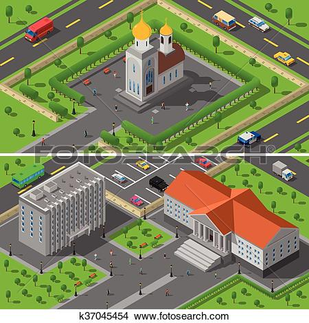 Clipart of Church State Edifice Isometric 2 Banners k37045454.