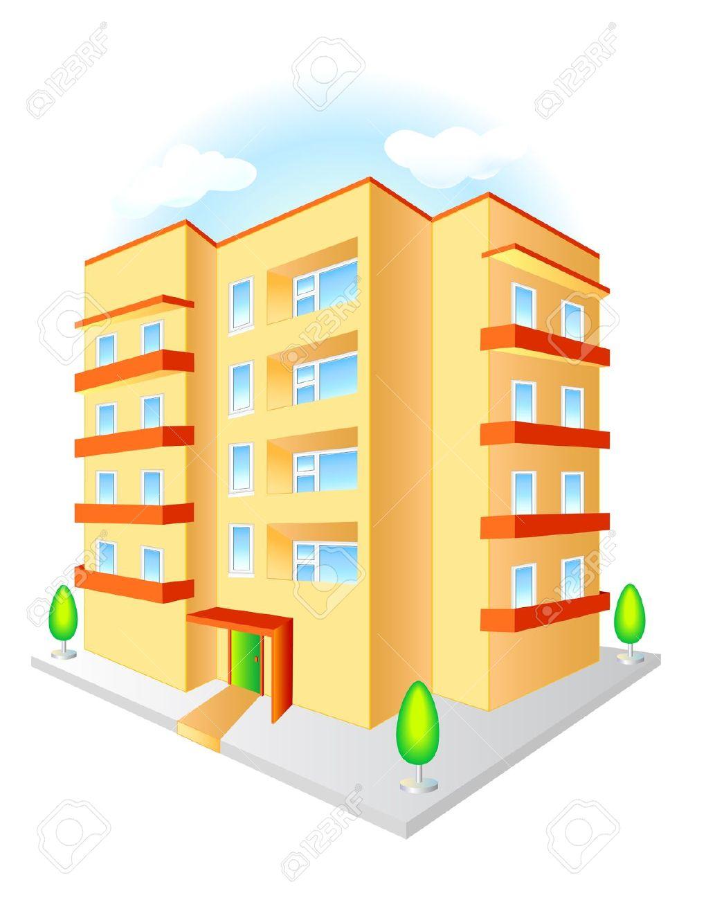Nuevo Edificio De Varios Pisos Con Balcones De Color Rojo En Un.