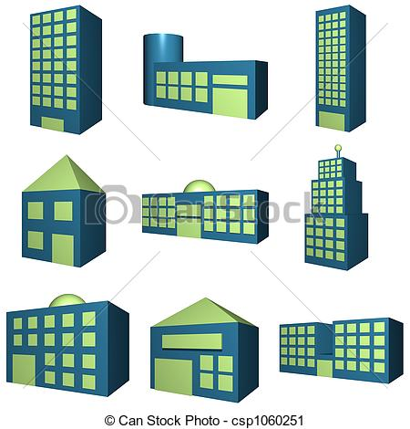 Clipart of Buildings Icon Set in 3d.