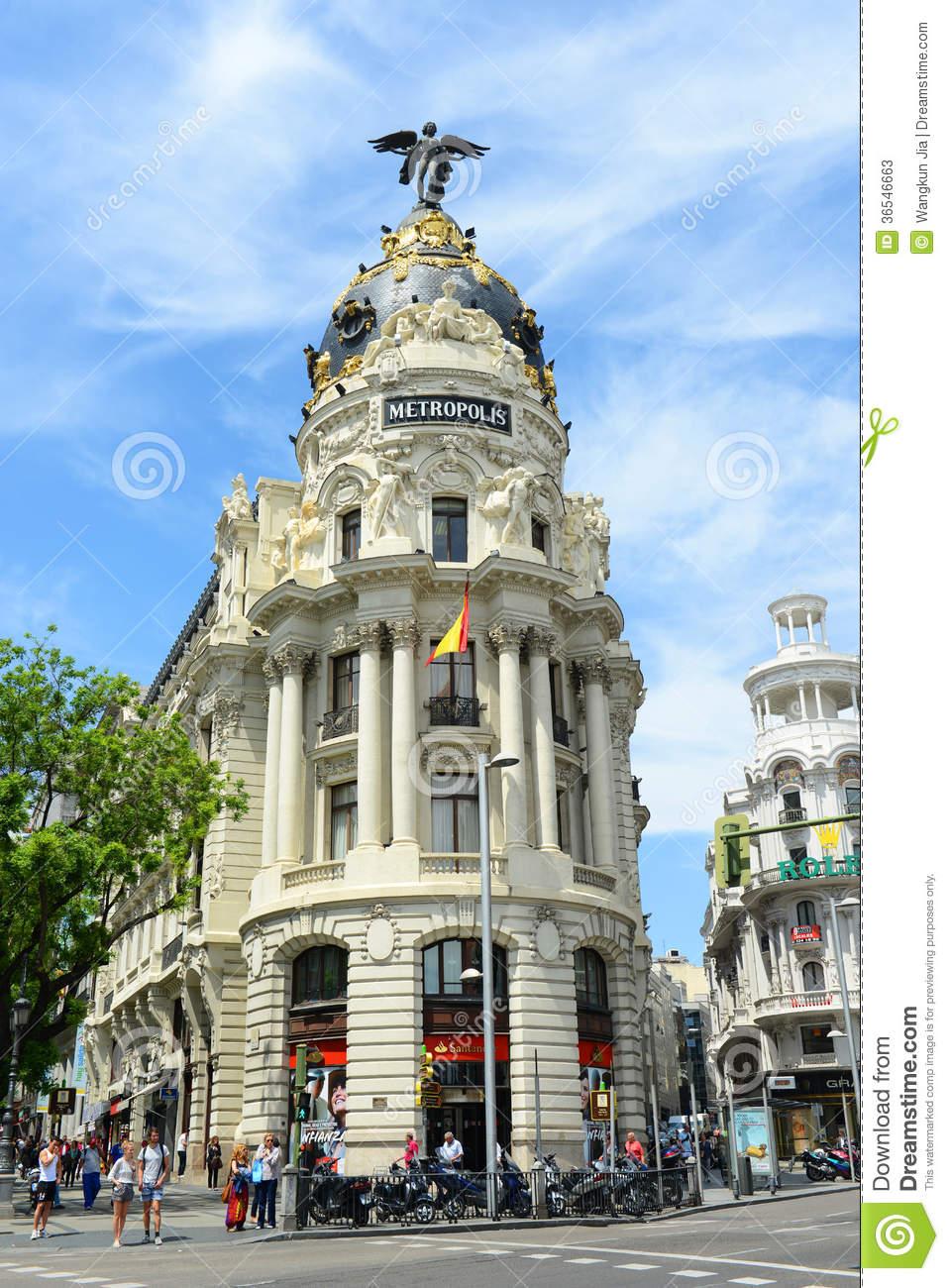 Metropolis Building, Madrid, Spain Editorial Stock Photo.