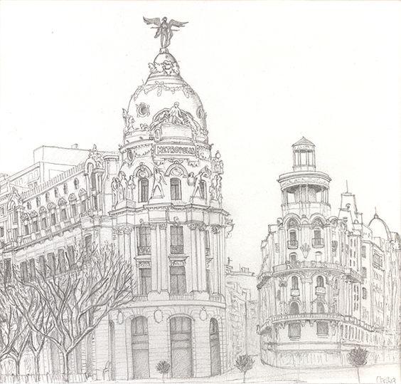 Dibujo del Edificio Metrópolis de Madrid Dibujo a lápiz. 15 x 15.