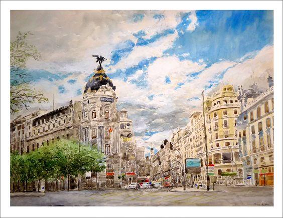 Cuadro de la Gran Vía de Madrid. Vista del edificio Metropolis.