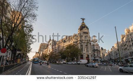 Madrid City Night Stock Photos, Royalty.