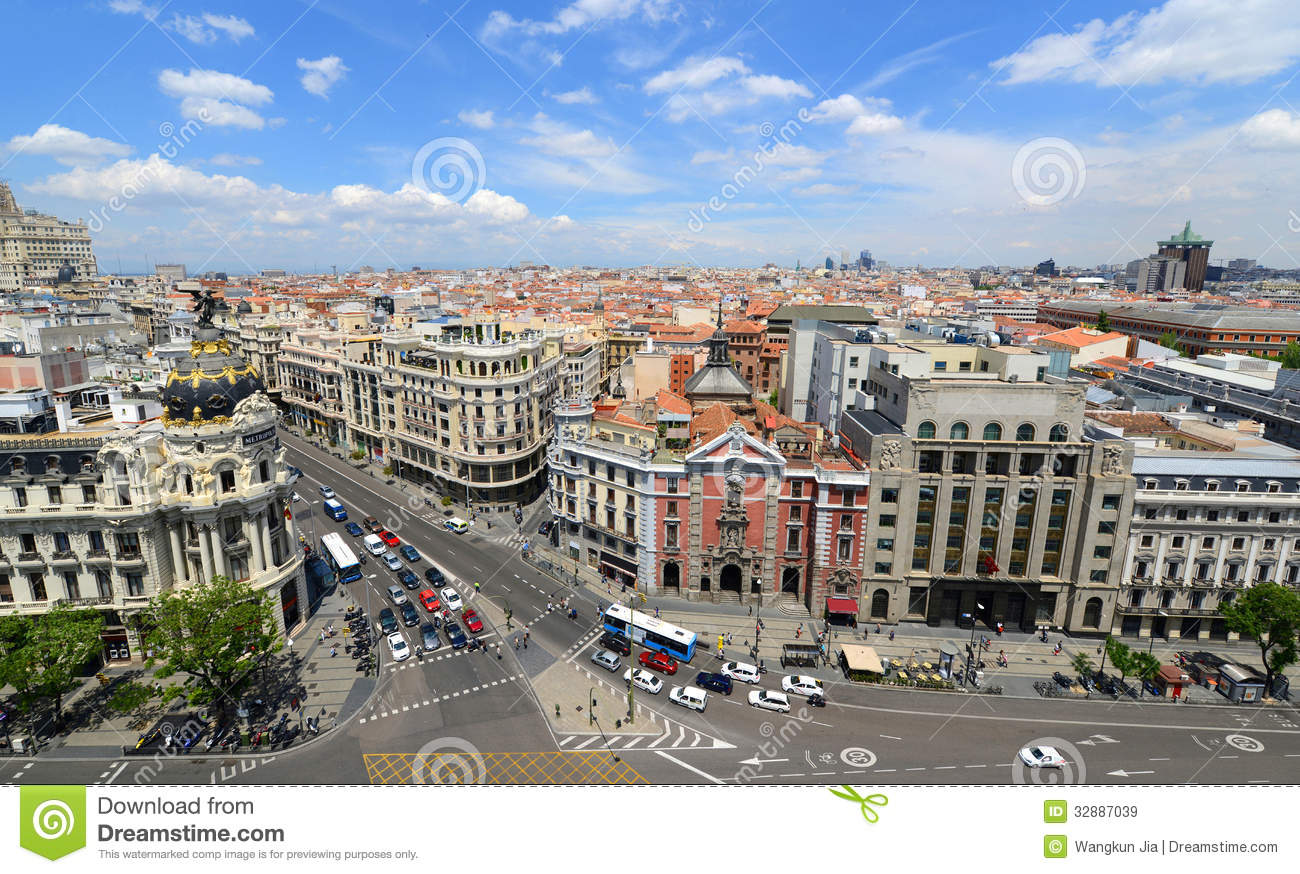 Madrid City Skyline, Spain Royalty Free Stock Images.