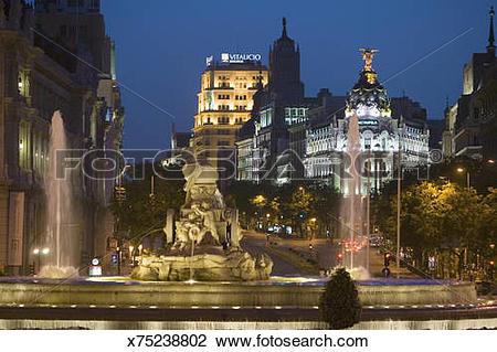 Stock Photo of Spain, Madrid, Plaza de Cibeles with Edificio.