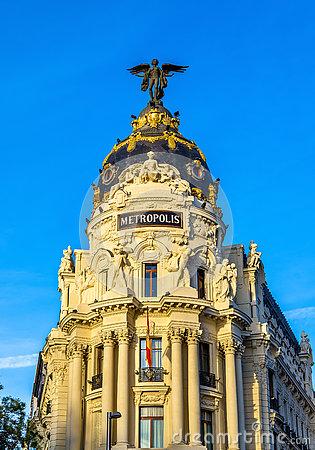 Metropolis Building, Madrid, Spain Royalty Free Stock Images.