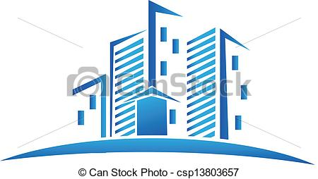 Clipart Vector of Skyline buildings real estate logo.