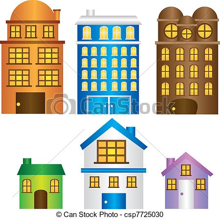 Vector Clipart of buildings and houses with window isolated.