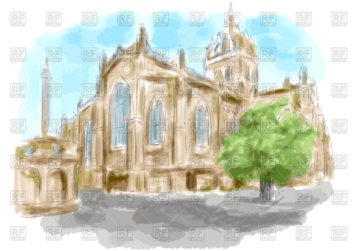 Edinburgh stylized church as watercolor paint Vector Image #76206.