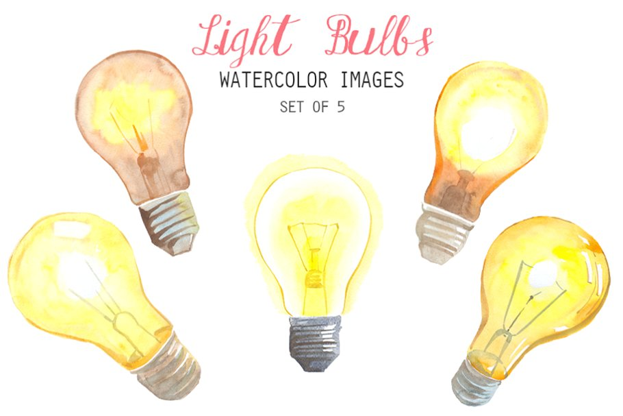 Watercolor Light Bulbs Clipart ~ Illustrations ~ Creative Market.