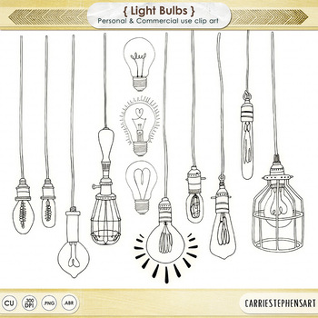 Dangling Light Bulb ClipArt, Bright Ideas Black Line Art.