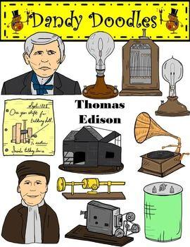 Thomas Edison Clip Art by Dandy Doodles.