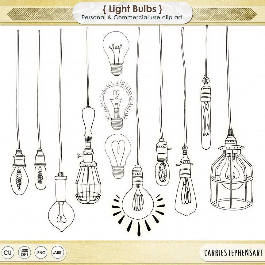 Light Bulb ClipArt PNG, String Light Digital Graphics, Royalty Free  Printable Line illustration, Digital Art Doodle, Vintage Edison Bulb.