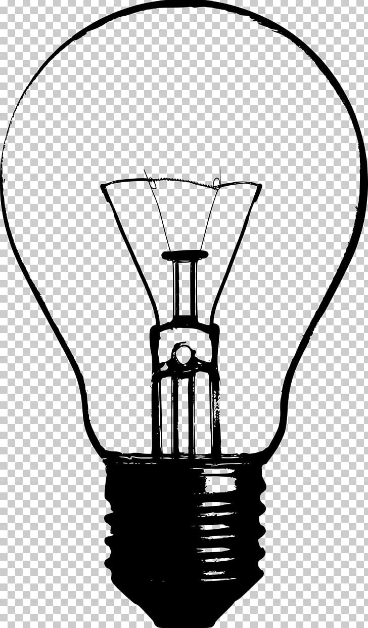 Incandescent Light Bulb Drawing PNG, Clipart, Black And White.