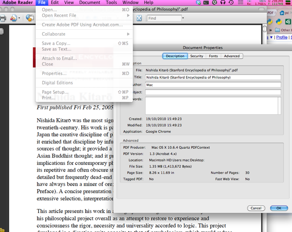 Editing PDF metadata on OSx (ie: having the Kindle display the right.