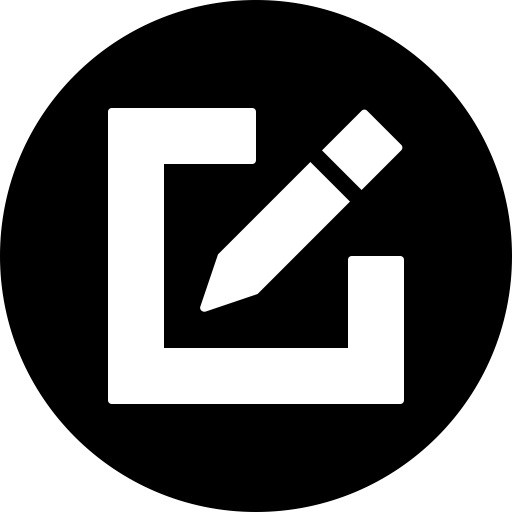 Circle, compose, draw, edit, pencil, write icon.