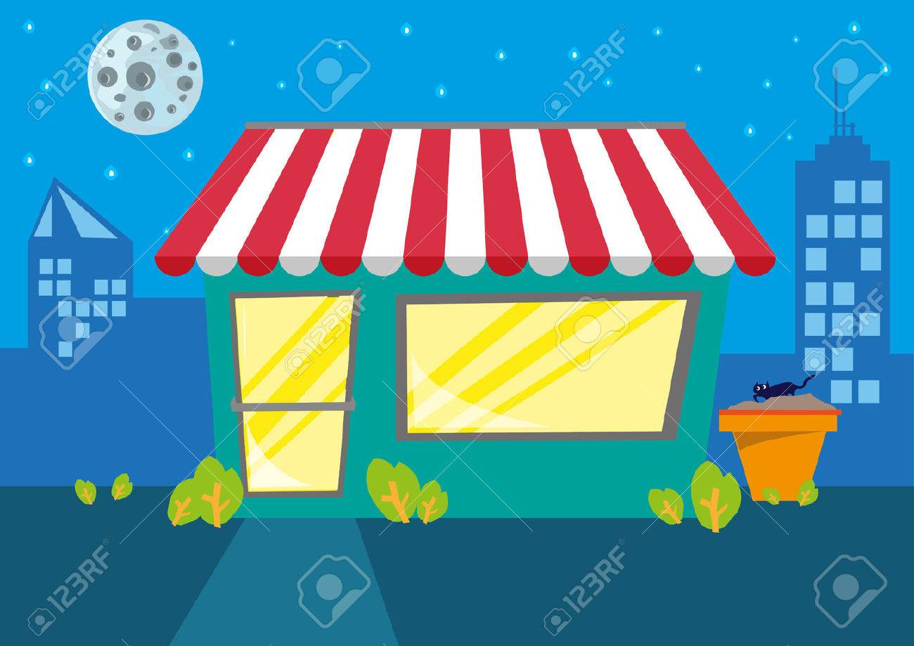 A Store or Restaurant at Night in the City. Editable Clip Art..