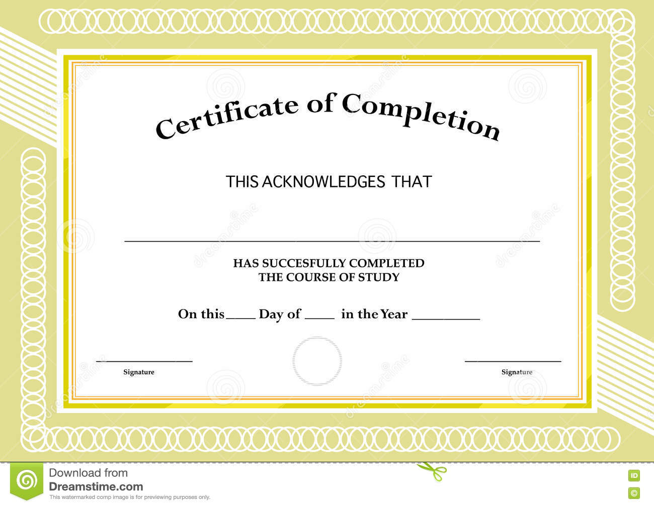 Certificate Of Completion. Classic Frame And Visual Design. Editable.