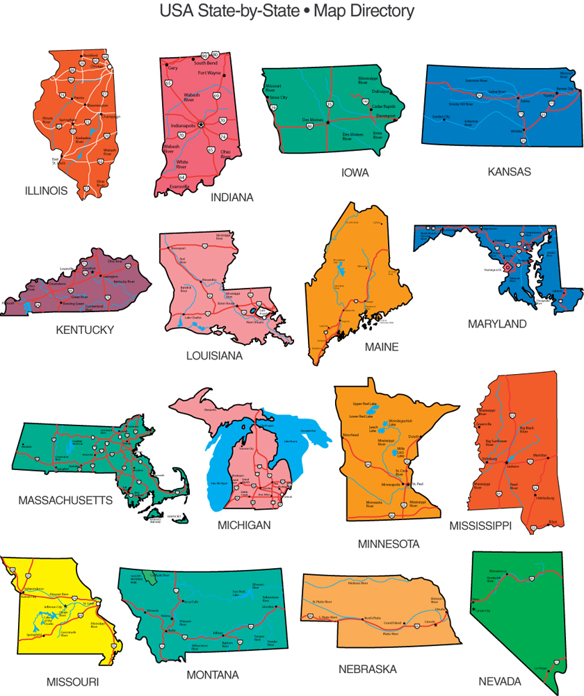 Editable Usa Map Clipart.