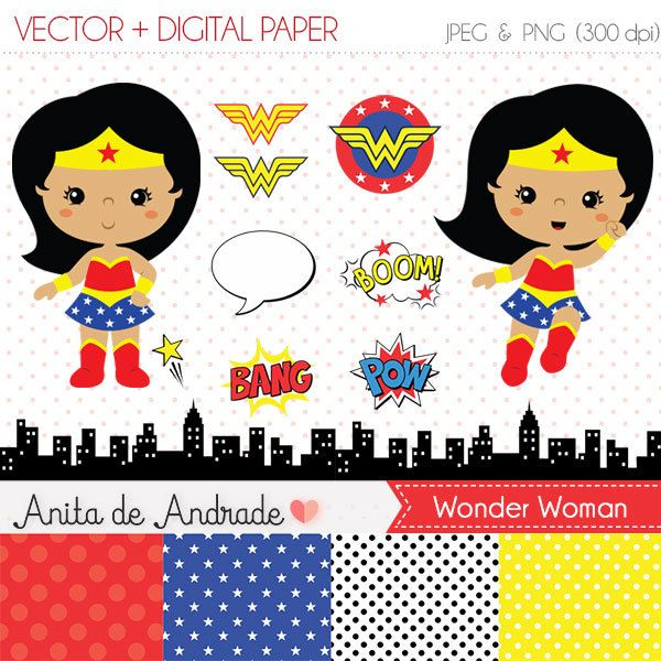 Wonder Woman clipart, Super hero vector.