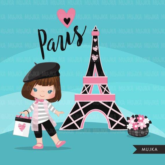 Paris clipart. Glitter pink Paris background, Eiffel tower.