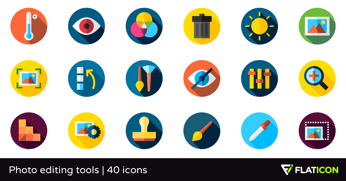Photo editing tools 40 free icons (SVG, EPS, PSD, PNG files).