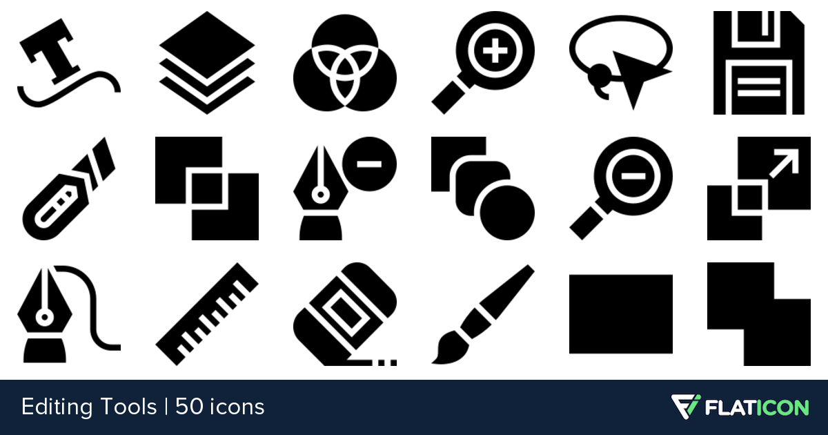 Editing Tools 50 premium icons (SVG, EPS, PSD, PNG files).