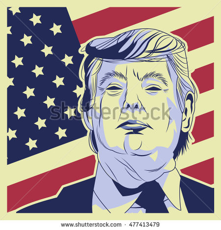 Trump Clinton Presidential Election Vector Illustration Stock.